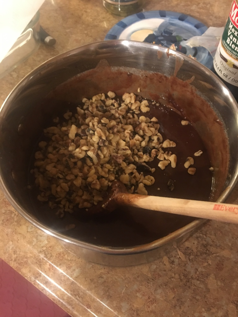 Life Amor Family's 12 days of baking and candy making day 6 Fudge with walnuts