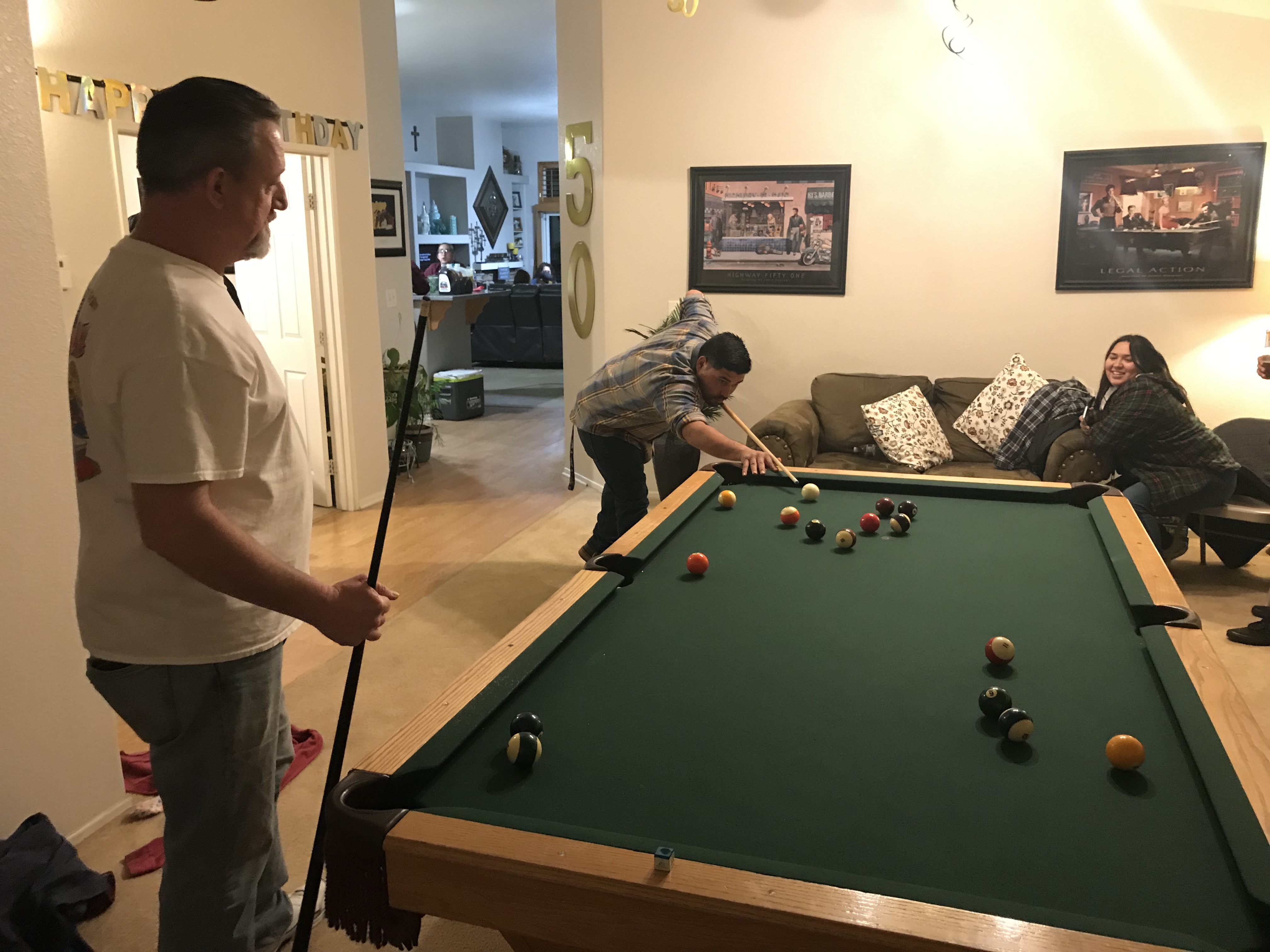 Leo and Brent playing pool