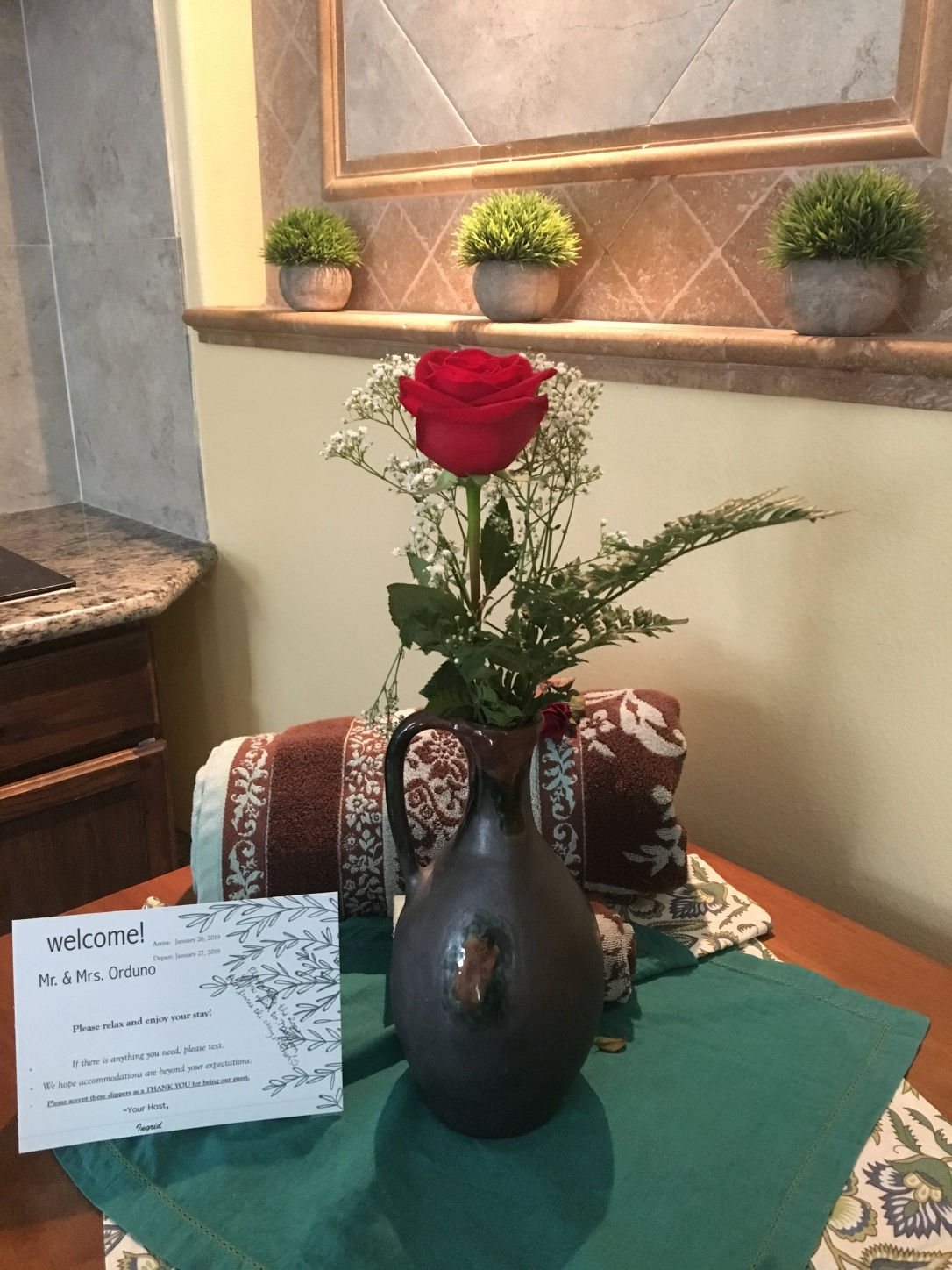 Rose left for us at AirBnb Victorville Ingrids Haus